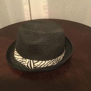 Black Straw Zebra Band Fedora
